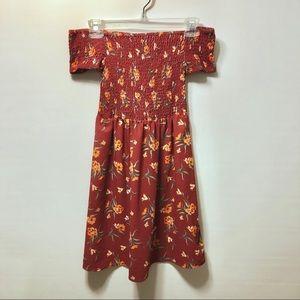 Rue 21 Off the Shoulder Orange Floral Dress